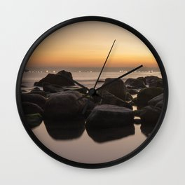 Rocky Ocean Sunrise Wall Clock