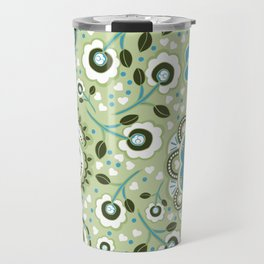 Aqua and green Paisley Flowers - by Jezli Pacheco Travel Mug