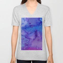 Blue purple pink hand painted watercolor pattern Unisex V-Neck