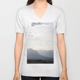 Sunset over the Rocky Mountains Unisex V-Neck