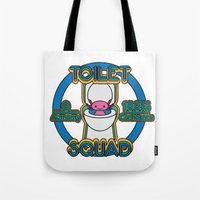 toilet Tote Bags featuring Toilet Squad by Justin Kedl