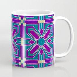 Art Deco Floral Tiles in Fuchsia, Teal and Purple Coffee Mug