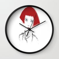 redhead Wall Clocks featuring redhead by March Hunger