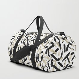 Black and White Feather Repeating Pattern Duffle Bag