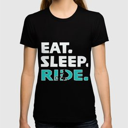 Awesome Eat Sleep Ride repeat design for cyclists T-shirt