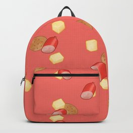Cheese, Kabana and Jatz snacks on Red Backpack