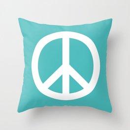 Peace (White & Teal) Throw Pillow
