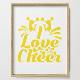 "Cheerleading Tee Perfect Gift For Cheerleaders Saying ""I Love Cheer!"" T-shirt Design Coach Cheers Serving Tray"