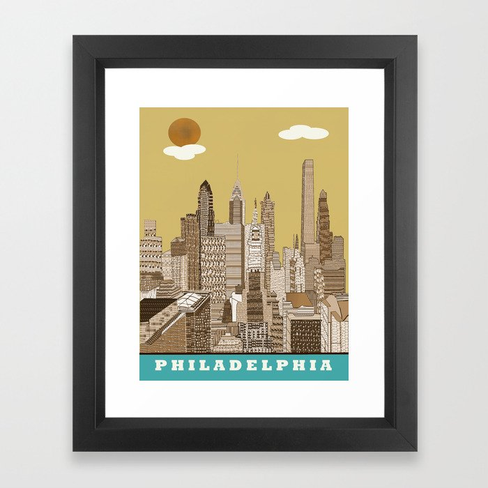 Philadelphia skyline vintage Framed Art Print