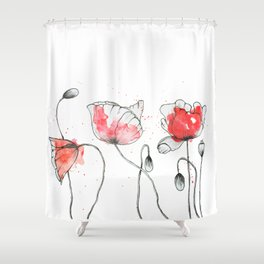 watercolor poppy // watercolor stains // watercolor splashes // minimalism Shower Curtain