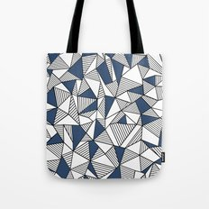 Abstraction Lines with Navy Blocks Tote Bag