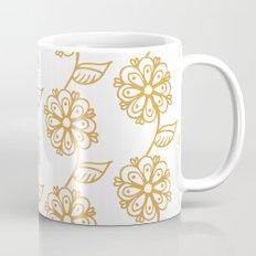 Golden floral on white 2/5 Mug