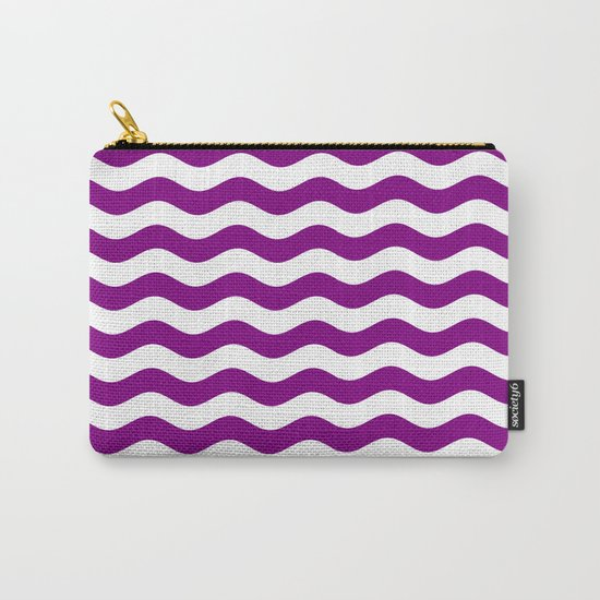 Wavy Stripes (Purple/White) Carry-All Pouch