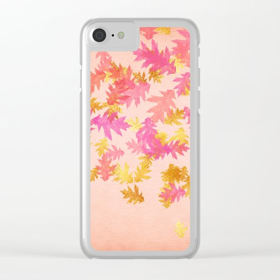 Autumn-world 1 - gold glitter leaves on pink backround Clear iPhone Case