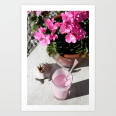 Strawberry milkshake and a frog Art Print