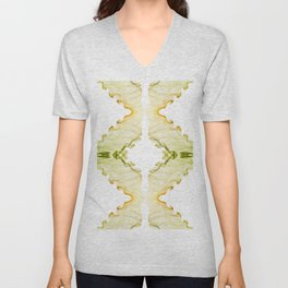 Yellow green twisted smoke abstracts Unisex V-Neck