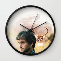 will graham Wall Clocks featuring Hannibal Will Graham Graphic by Olivia M