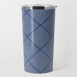 Stitched Diamond Geo in Blue Travel Mug