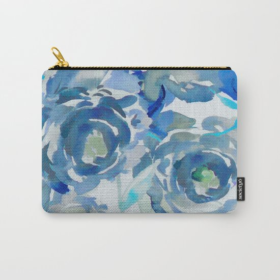 Sky Blue Painterly Floral Abstract Carry-All Pouch