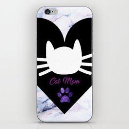 Cat Mom on Purple Marble iPhone Skin