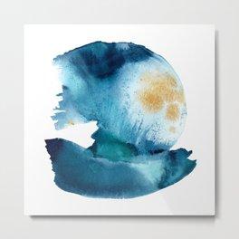 The Wave - Abstract Ocean Watercolor Coastal Art Metal Print