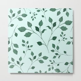 Light Cyan Soft Mint Green Leaves Greenery Pattern Modern Décor Metal Print