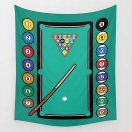 Billiards Table and Equipment Wall Tapestry