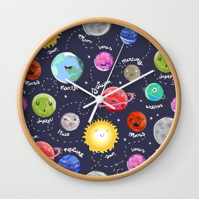 galaxy wallpaper the planets cartoon wall clocks