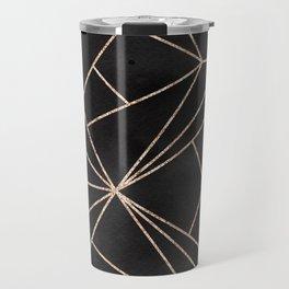 Elegant modern black rose gold watercolor geometrical pattern Travel Mug