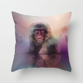 Macaque (Low Poly Multi II Snow Monkey) Throw Pillow