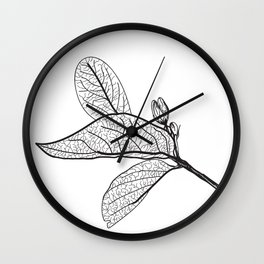 Leaves contours on a white background. vector Wall Clock