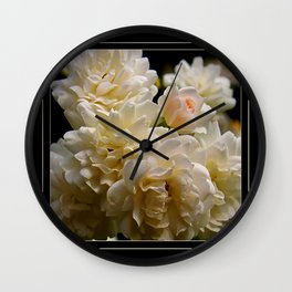 white roses and a light pink bud  Wall Clock