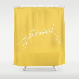 Get Naked Yellow Shower Curtain