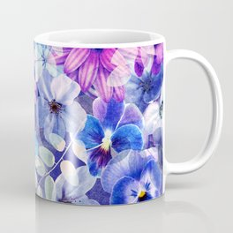 Dark pink and blue floral pattern Coffee Mug