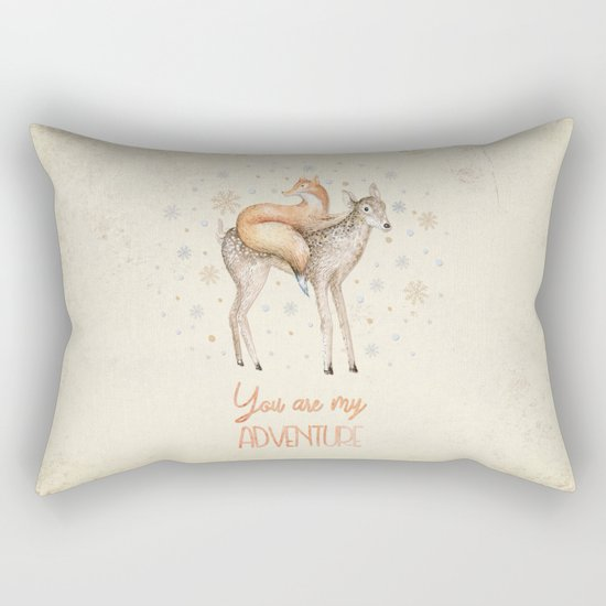 You are my adventure- fox and deer in winter- merry christmas Rectangular Pillow