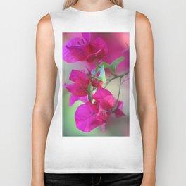 Dreamy Pink Flowers Biker Tank