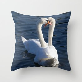 Swan Courtship  Throw Pillow