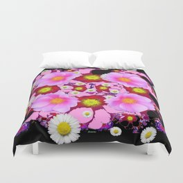 Black Design & Pink Roses Shasta Daisies Art Abstract Duvet Cover