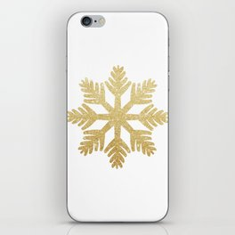 Gold Glitter Snowflake iPhone Skin