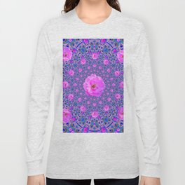 ORNATE THOUSANDS PINK ROSES & BLUE  ABSTRACT Long Sleeve T-shirt