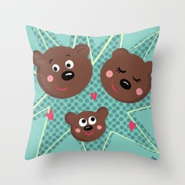 Three Bears Throw Pillow