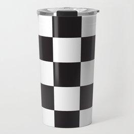 Black and White Checkered Pattern Travel Mug