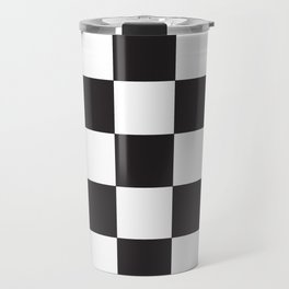 Black and White Checkered Pattern Travel Mug