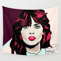 80s Wall Tapestries featuring 80s Pink by Anna McKay