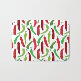 New Mexico Christmas Hatch Chiles in White Bath Mat
