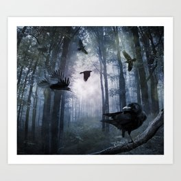 Misty Forest Crows Art Print