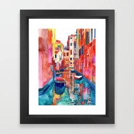 Venice Street with boats Framed Art Print