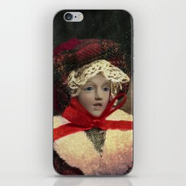 Red hat vintage Christmas doll iPhone Skin