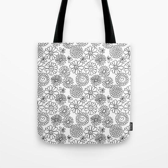 Doodle floral pattern Tote Bag