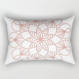 Mandala Flowery Vine Rose Gold on White Rectangular Pillow